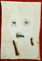 W.Utermohlen Masks - Green Eyes and Open Mouth, 1996, watercolor on paper, 27x18 cm
