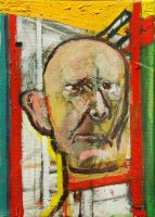 W.Utermohlen Self Portrait with easel, 1998, oil on canvas, 35.5x25