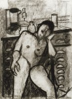 W.Utermohlen Late Drawings - Nude and Drawers, 1995,charcoal on paper, 47x33.5 cm