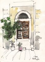 arched_window_and_flower_pots_old_town_corfu_view_of_mouragia_and_corfu_ink_and_watercolour_on_paper_2018.jpg
