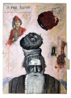 Christiaan Diedericks Medicine Man III, edition 15, Unique hand finished linocut with acrylic paint, collage and needlepoint on 300 gsm Hahnemühle etching paper / Linogravure rehaussé ede painture acrylique , collage et couture, 107 x 78cm
