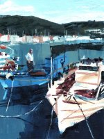Misha Goro Fishing boats, Gaios II 2015 oil on board 30.5 x 23 cm