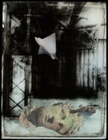 Vivian van Blerk After Empire: The Deep 2016, collage, photographic emulsion and paint on glass, 37.5 x 29.5 cm
