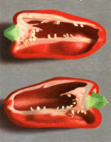 Two Halves of a Red Bell Pepper (diptych) 2005 colored pencil on paper 32.6 x 50 cm