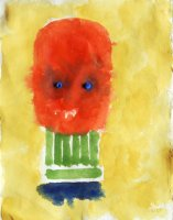 W.Utermohlen Masks - Green Neck, 1996, watercolor on paper, 28.5x21 cm