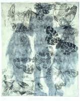 Emmanuelle Mellot Papillons 12, 2000, intaglio on copper, aquatint, etching sized on Japanese paper, 30 x 24 cm