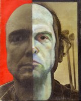 William Utermohlen Self Portrait (split) 1977 Oil, charcoal and photography on gesso on canvas 5.5 x 20 cm