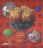 Mums and spheres 2009 pastel on paper 21 x 19 cm