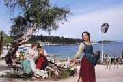 The Beautiful Girls of Paxos 2015 collage on photograph 29.8 x 44.8 cm