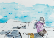 Pavlos Habidis - On the Phone in Plakes 2013 - watercolor 17.5 x 25 cm