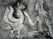 Javier Vilató Dragon I 1974, edition 33, etching, 25 x 34 cm