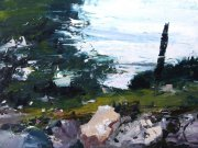 Misha Goro Paxos, Cypress Tree 2015 oil on board 30.5 x 40.5 cm
