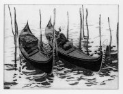 Due gondole 1986 21,7 x 29,4 cm Etching on zinc, Edition 90
