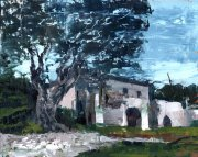 Misha Goro - Paxos, Old Olive Tree 2015, oil on board, 20.5 x 25.5 cm