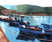 Misha Goro Fishing boats, Gaios I 2015 oil on board 20.5 x 25.5 cm