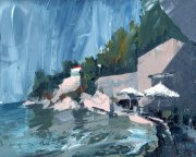 Misha Goro Loggos Pier - Stormy Day 2015 oil on board 20.5 x 25.5 cm