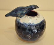 Blue Bird bowl vase 2015, glazed ceramic and slipware, h.15 cm d.13 cm