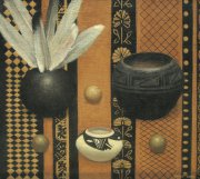 Pots and feathers 2002 oil on canvas 50 x 56 cm