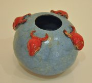 Red Bull bowl vase 2015, glazed ceramic and slipware, h.10 cm d.16 cm