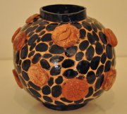 Olive bowl vase 2015, glazed ceramic slipware and sgrafito, h.19 cm d.20 cm