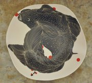 Big Fish platter with red dots 2015, engraved slipware porcelain, h.8 cm d.44 cm