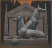 David Loeb Two Dogs, Bestiaire 2015 pastel on paper 47 x 52 cm