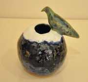 Green Bird bowl vase 2015, glazed ceramic and slipware, h.17 cm d.13 cm