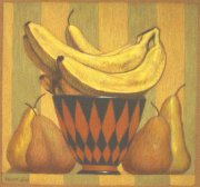 Bananas and pears 2011 pastel on paper 20 x 18.5 cm