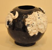 Bull and Lion bowl vase 2015, glazed ceramic and slipware, h.11.5 cm d.16 cm