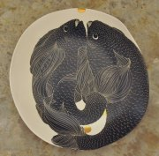 Fish plate with gold dots 2015, engraved slipware porcelain, h.5 cm d.30 cm