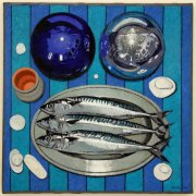 Mackerel and globes 2014 vinyl and oil on canvas 50 x 50 cm
