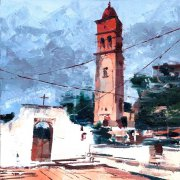 Misha Goro Paxos, Ag. Apostoloi Church - Gaios 2015 oil on board 20.5 x 25.5 cm