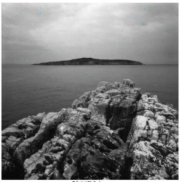Gabriel Stauffer Paxos, Antipaxos View from Mongonissi 2014 barite & selenium print 1/9 47 x 47 cm, framed 64 x 64 cm