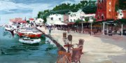 Misha Goro Loggos - The Port, Paxos II 2015 oil on board 15.5 x 30.5 cm