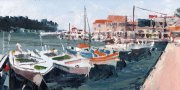 Misha Goro Loggos - The Port, Paxos I 2015 oil on board 15.5 x 30.5 cm