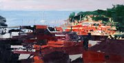 Misha Goro Gaios View from the British cisterns, Paxos 2015 oil on board 15.5 x 30.5 cm