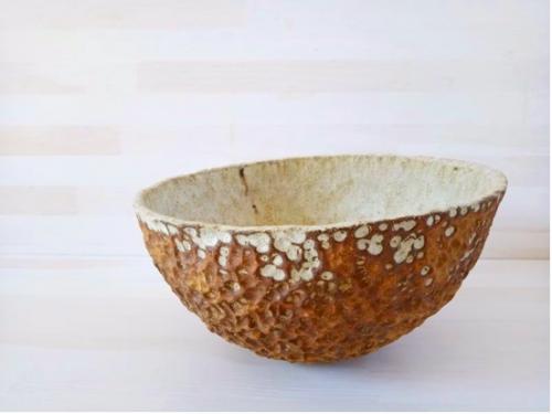 "Haroula Koropouli - Bowl from Sfirilata (""Hammered"") series 2019 High temperature clay 1260 c, Olive wood ash glaze, 13x27 cm."