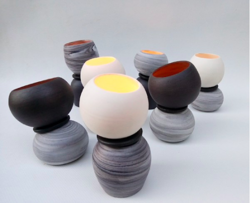 "Ilias Christopoulos - Candleholders 2019 from the series ""Play of Light and Shade"" White porcelain with high temperature black clay 1260 C, wheel-thrown."